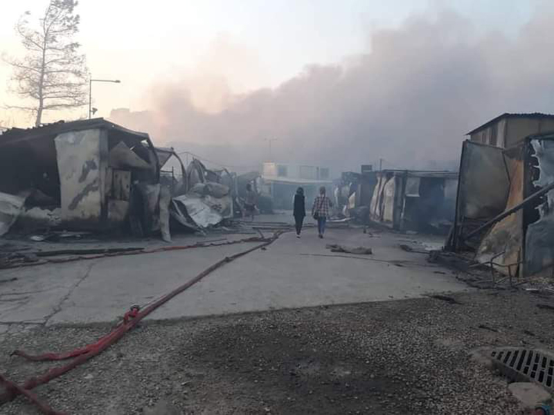 Fires destroy Camp Moria
